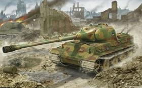Обои война, лев, арт, танк, тяжелый, немецкий, Lowe