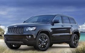 Обои джип.гранд чероке, трава, небо, передок, тюнинг, концепт, Jeep