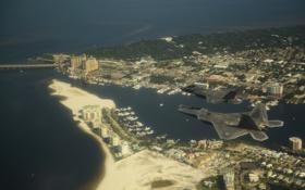 Обои Город, F-22, ВВС США, Lightning II, F-35, Истребителей-бомбардировщик
