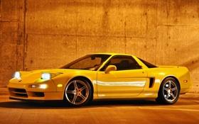 Обои желтый, стена, фары, спорткар, диски, acura, акура