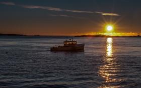 Картинка море, солнце, утро, горизонт, катер