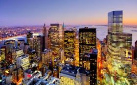 Картинка США, пейзаж, Нью-Йорк, дома, ночь, огни, небоскреб