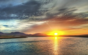 Обои небо, вода, солнце, фото, вид, закат солнца, красивые обои