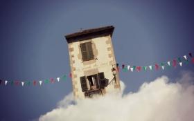Картинка дом, облако, флажки