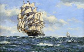 Картинка море, пейзаж, корабль, простор, парус, Henry Scott, волны. ветер