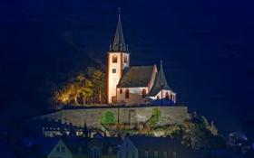 Обои Brodenbach, дома, освещение, церковь, ночь, возвышенность, Германия