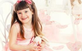 Картинка ребенок, девушка, лицо, тюльпаны, цветы