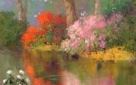 Обои река, кусты, природа, арт, отражение, гладь, цветы