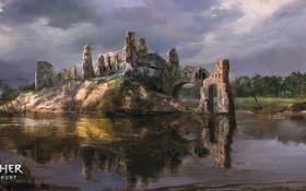 Картинка вода, река, руины, art, rpg, CD Projekt RED, The Witcher 3: Wild Hunt