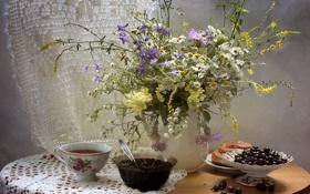 Картинка булочка, варенье, смородина, ромашки, натюрморт, букет, чай