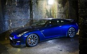 Обои синий, GTR, фонарь, Nissan, ниссан, blue, Skyline