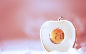 Обои настроения, яблоко, будильник, персиковый