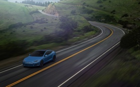 Обои Car, Blue, Speed, Front, Tesla, Road, P85D