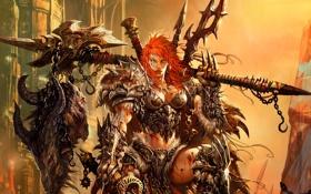 Обои варварша, варвар, женщина, трофей, броня, Diablo 3