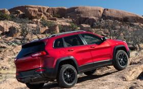 Обои красный, джип, внедорожник, Jeep, Cherokee, Trailhawk