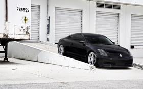 Обои чёрный, Nissan, black, ниссан, Coupe, Skyline, трейлер
