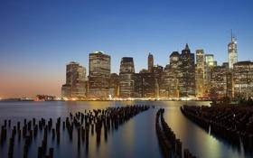Обои город, огни, река, здания, дома, Нью-Йорк, небоскребы