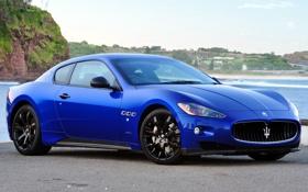 Обои небо, синий, скалы, берег, Maserati, спорткар, мазерати