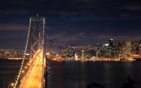 Обои выдержка, город, ночь, мост, сан-фрациско, огни