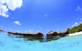 Обои облака, небо, бунгало, море, пляж, Мальдивы, рай