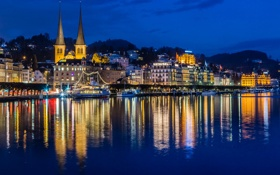 Обои ночь, город, река, фото, дома, Швейцария, Luzern
