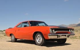 Обои car, muscle, Plymouth, красный