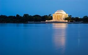 Картинка небо, озеро, здание, колонны, ступени, Вашингтон, США