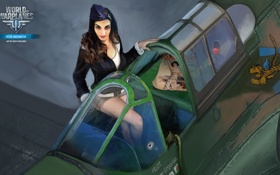 Картинка девушка, самолет, кабина, girl, aviation, авиа, MMO