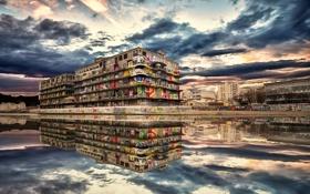Картинка город, дом, река