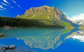 Картинка небо, облака, деревья, горы, озеро, дом, лодки