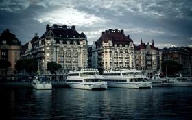 Картинка город, река, здания, дома, вечер, Стокгольм, Швеция