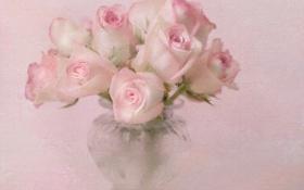 Картинка розы, розовые, букет, текстура, ваза, цветы