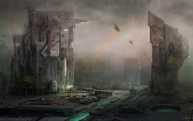 Обои город, будущее, корабли, арт, сооружения, cloudminedesign