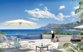 Картинка море, девушка, побережье, терраса, Montecarlo palace perspective terrasse panoramique