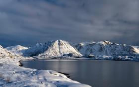 Обои зима, горы, небо, озеро, снег