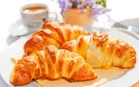 Обои coffee, breakfast, кофе, croissant, круассаны, завтрак, cup