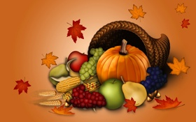 Обои осень, листья, коллаж, яблоко, кукуруза, тыква, груша