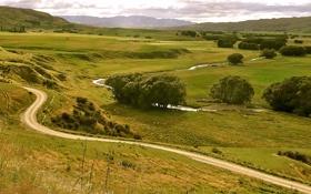 Картинка дорога, река, долина, межгорье