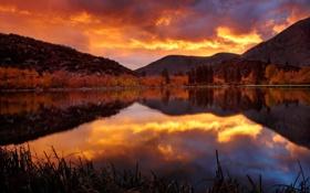 Картинка закат, горы, осень, озеро, зеркало
