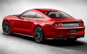 Обои красный, Mustang, Ford, Форд, Мустанг, вид сзади, Muscle car