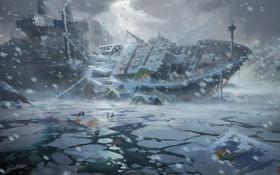 Картинка катастрофа, льдины, море, метель, люди, холод, арт