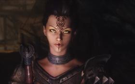 Картинка взгляд, девушка, игра, меч, губы, броня, skyrim