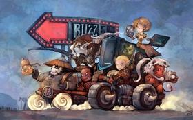 Обои эльф, панда, орк, world of warcraft, blizzcon