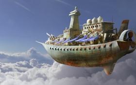 Картинка облака, полет, корабль, арт, летучий, в небе