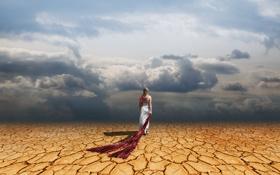 Картинка desert, clouds, dress, woman