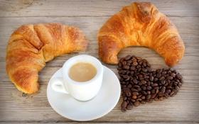 Обои сердце, кофе, кофейные зерна, выпечка, круассаны