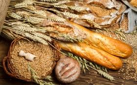 Обои хлеб, колосья, мешок, пшено, выпечка, батоны