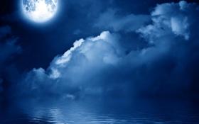 Обои облака, ночь, небо, море, луна