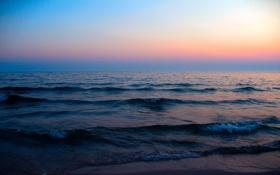 Обои закат, пейзаж, природа, вечер, волны, море
