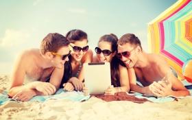 Обои пляж, лето, отдых, смех, summer, beach, vacation